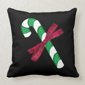 Glittery Green and Silver Candy Cane with Red Bow Throw Pillow