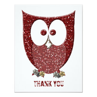 Glittery Red Bling Owl Flat Thank You  Notes Card