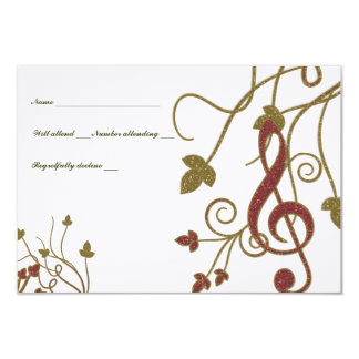 Glittery Red Gold White Music rsvp Card
