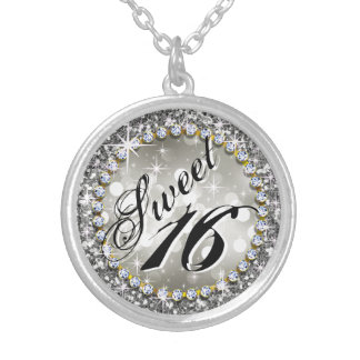 Glitz Glam Bling Sweet 16 Celebration silver Silver Plated Necklace