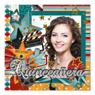 """Glitz Glamor Movie Star Quinceanera Invitations 5.25"""" Square Invitation Card"""