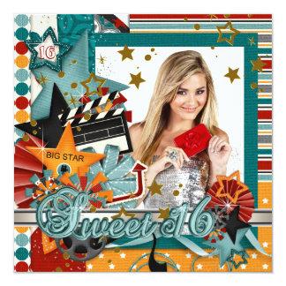 "Glitz Glamor Movie Star Sweet 16 Invitations 5.25"" Square Invitation Card"