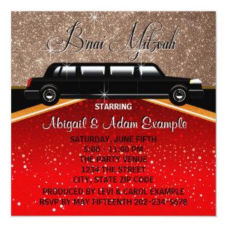 Glitz Glamour Red Carpet Movie Star B'nai Mitzvah 13 Cm X 13 Cm Square Invitation Card