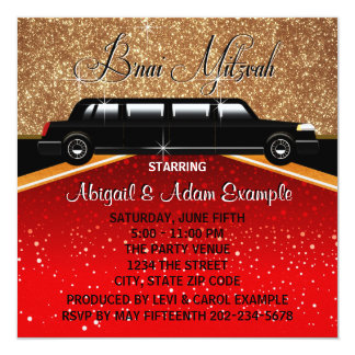 "Glitz Glamour Red Carpet Movie Star B'nai Mitzvah 5.25"" Square Invitation Card"