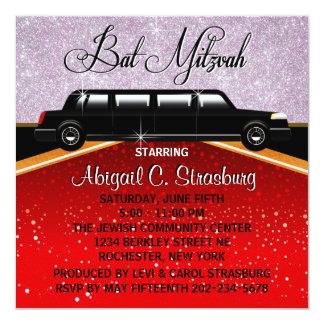"""Glitz Glamour Red Carpet Movie Star Invitations 5.25"""" Square Invitation Card"""