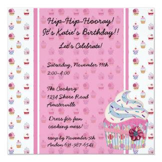 Glitzy Cupcake Invitaiton 13 Cm X 13 Cm Square Invitation Card