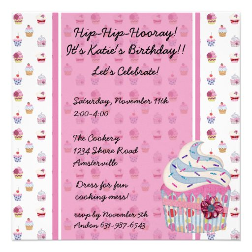 Glitzy Cupcake Invitaiton Announcements