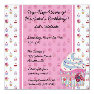 Glitzy Cupcake Invitaiton 13 Cm X 13 Cm Square Invitation Card