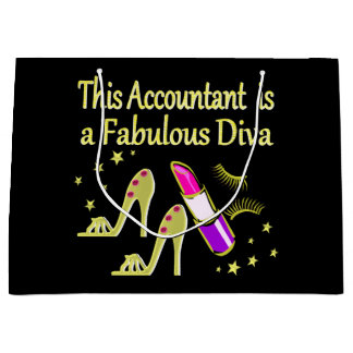 GLITZY GOLD ACCOUNTANT DESIGN LARGE GIFT BAG