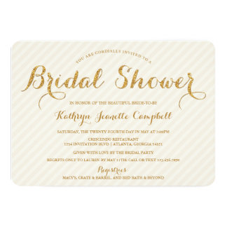 Glitzy Gold Glitter Bridal Shower Invite - Ivory