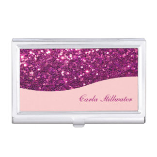 Glitzy Monogram Business Card Case