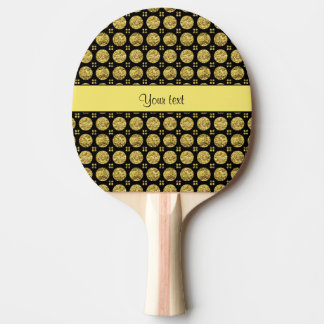 Glitzy Sparkly Yellow Glitter Buttons Ping Pong Paddle
