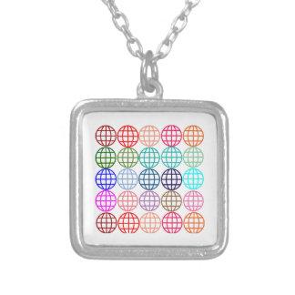 Globes Round Circles Square Pendant Necklace