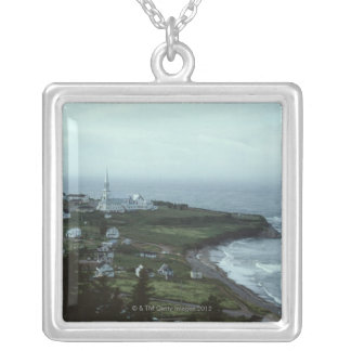 Gloomy seaside village silver plated necklace