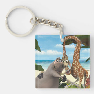 Gloria and Melman Hand Holding Key Ring