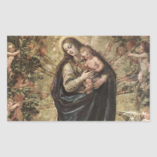 GLORY TO JESUS AND MARY RECTANGULAR STICKERS