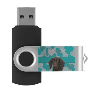 Glossy Grizzly in Blue USB Flash Drive