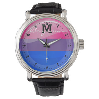 Glossy Round Bisexuality Flag Watch