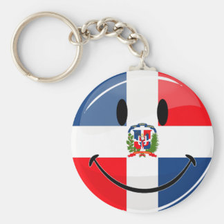 Glossy Round Dominican Republic Flag Smiley Key Ring