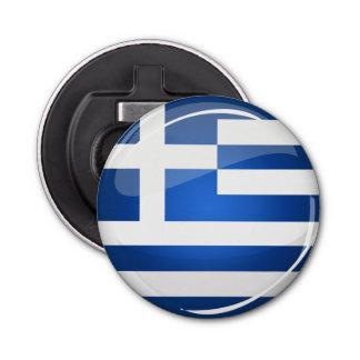 Glossy Round Greece Flag Bottle Opener