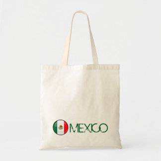 Glossy Round Mexican Flag Tote Bag