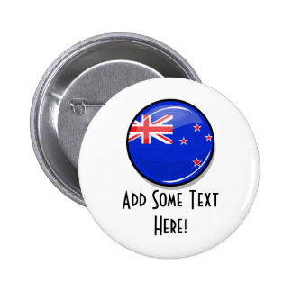 Glossy Round New Zealand Flag 6 Cm Round Badge