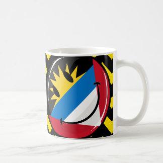 Glossy Round Smiling Antigua and Barbuda Flag Coffee Mug