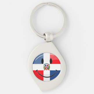 Glossy Round Smiling Dominican Flag Key Ring
