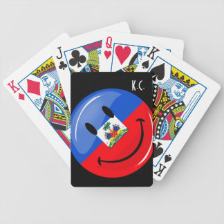 Glossy Round Smiling Haitian Flag Bicycle Playing Cards