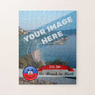 Glossy Round Smiling Haitian Flag Jigsaw Puzzle