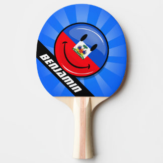 Glossy Round Smiling Haitian Flag Ping Pong Paddle