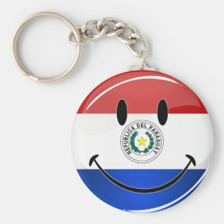 Glossy Round Smiling Paraguay Flag Key Ring