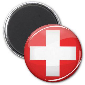 Glossy Round Swiss Flag 6 Cm Round Magnet
