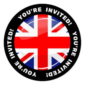Glossy Round UK English Flag Card