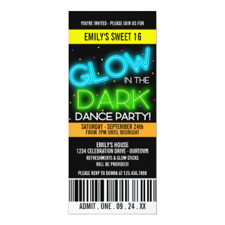 Glow in the Dark Sweet 16 Party Card