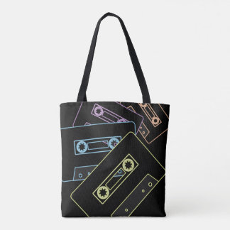 Glowing Audio Cassette Tapes Tote Bag