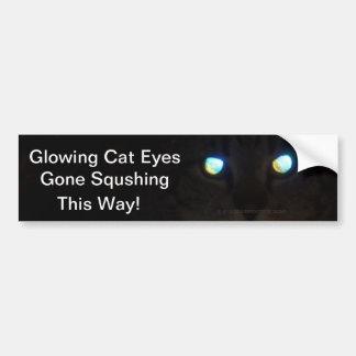 Glowing Cat Eyes Gone Squashing.  This Way! Car Bumper Sticker
