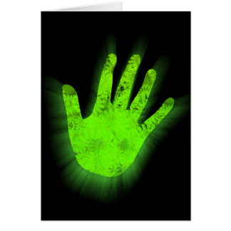 Glowing hand print. card