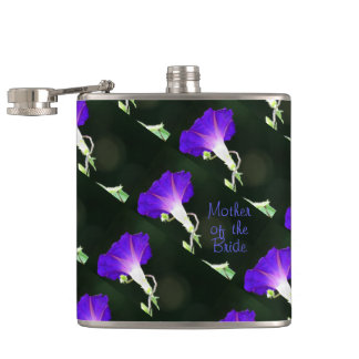 Glowing Morning Glory MOTHER OF THE BRIDE Hip Flask