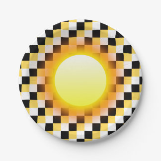 Glowing Sun on Black White Mustard Small Squares Paper Plate
