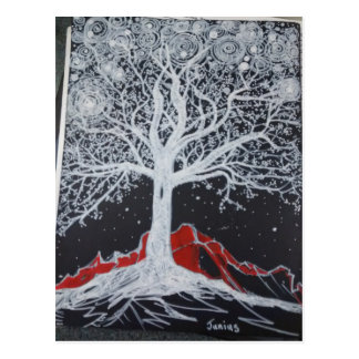 Glowing tree of life on a black background postcard