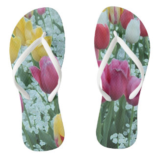 Glowing Tulip Garden Thongs