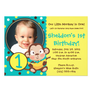 GO BANANAS - Little Monkey Party Invitations - BOY