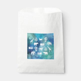 Go explore! Pretty blue travel watercolor pattern Favour Bags