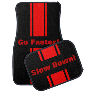 Go Faster Slow Down Red Racing Stripe Floor Mats Car Mat