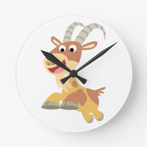 Go Goat!! (cute cartoon goat) Wall Clock