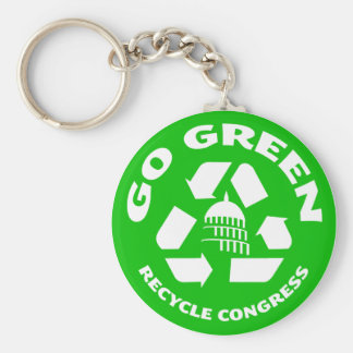 Go Green, Recycle Congress - Button Key Ring