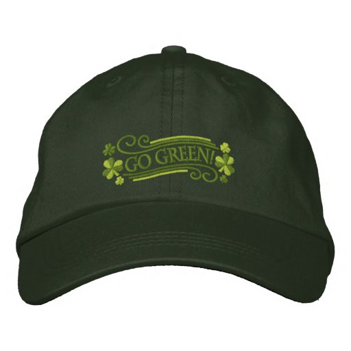 Go Green Shamrocks and Text Embroidered Hat