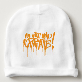 go out and create orange graffiti art baby beanie