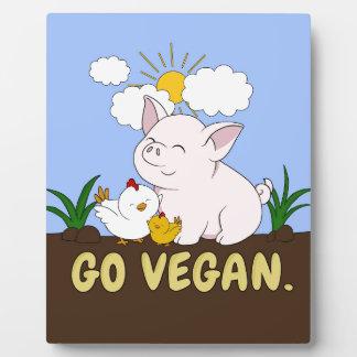 Go Vegan - Cute Pig and Chicken Plaque